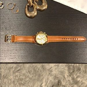 Michael kors leather and gold watch